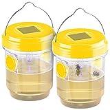 Exbuster Wespenfalle: 2er-Set giftfreie Solar-LED-Insektenfalle z. Aufhängen oder Hinstellen...