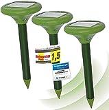ISOTRONIC Solar LED Maulwurfabwehr Vibrasonic mit Vibrationsmotor 3er Set solarbetrieben Wühlmausfrei Wühlmausschreck Wühlmausvertreiber Maulwurfschreck Schlangenabwehr (3) ohne Buttersäure