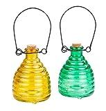 WENKO Wespenfalle Glas Grün & Gelb - 2-teiliges Set, Wespenfänger ohne Chemie, Glas, 9 x 14 x 9 cm, Mehrfarbig
