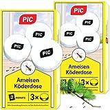 PIC - Ameisenköder-Dose - Ameisenköder für Innen, Terrasse, Balkon und Keller - Bekämpft das ganze Ameisennest (6 Dosen)