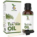 Teebaumöl BIO 50ml mit Pipette - 100% naturreines ätherisches Öl aus Australien, vegan - zur Anwendung auf unreiner Haut, Hautentzündungen, Anti Pickel, Akne sowie Warzen und Pilzen - Diffuser Öl