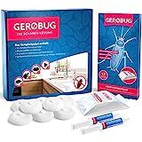Gerobug® Die Schaben-Lösung Komplettpaket zur Schaben-Bekämpfung + 2 x Schabenköder Gel + 12 x Schabenfalle + 8 Köderdosen + Videoanleitung für Privatanwender