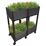 Ominihome Garten Hochbeet Kunststoff, Pflanzkasten mit Füßen im Rattan Design, Einfache Montage, Perfekt für Blumen Kräuter Gemüse (4 Kästen mit 6 Rollen)