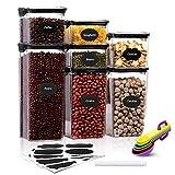 Aitsite Vorratsdosen Set, Frischhaltedosen mit luftdichtem Deckel, BPA Frei Vorratsbehälter, Müsli Schüttdose mit 16 Etiketten für Getreide Mehl