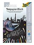 folia 197 - Tonpapierblock, schwarzes Zeichenpapier, DIN A4, 20 Blatt 130g/m², Block mit Kopfleimung, ideal für helle Farben wie Kreide, Speckstein