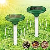2 STK Solar Maulwurfabwehr, Ultrasonic Solar Maulwurfschreck, Wühlmausschreck IP56 Wasserdicht, Mole Repellent, Maulwurf Vertreiber, Wühlmaus Abwehr, Maulwurfbekämpfung, Tiervertreiber für Den Garten