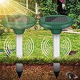 Vivibel 2 Stück Maulwurfabwehr Solar, Ultrasonic Solar Maulwurfschreck Maulwurfbekämpfung mit IP56 Wühlmausschreck Mole Repellent,Maulwurfbekämpfung, ultraschall maulwurfschreck für den Garten